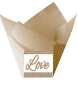 12pack Love Wedding Natural Kraft (Burlap Brown) Tulip Baking Cup Liners
