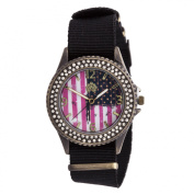 Walflower Ladies Collection with CZ ring Case / Black Nylon Strap Watch