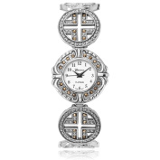 Geneva Platinum Women's Marcasite Round Face Bracelet Watch