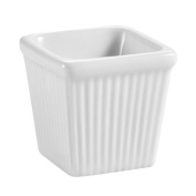 CAC China Accessories 8.6cm by 5.1cm 180ml Super White Porcelain Square Fluted Ramekin, Box of 36