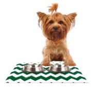 Kess InHouse KESS Original Candy Cane Green Chevron Feeding Mat for Pet Bowl