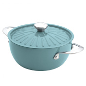 Cucina Oven-To-Table Hard Enamel Nonstick 4.3l Covered Round Casserole, Agave Blue