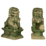 Hong Tze Collection A Pair Of Jade Beijing Foo Dogs Small