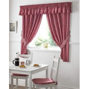 GINGHAM cheque RED WHITE KITCHEN CURTAINS DRAPES W46 X L48 TIEBACKS INCLUDED