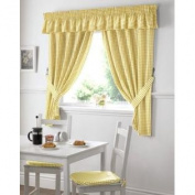 GINGHAM cheque YELLOW WHITE KITCHEN CURTAINS DRAPES W46 X L42 TIEBACKS INCLUDED