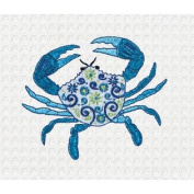 Meridian Blue Crab Embroidered Kitchen Waffle Weave Cotton Towel 70cm