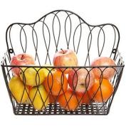Decorative Black Metal Wire Loop Design Wall Mounted Magazine Holder Bin / Fruit Basket Rack - MyGift®