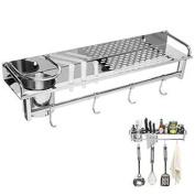 Chrome Wall Mounted Kitchen Spice Rack w/ Utensil / Pot / Pan Hanger Hooks, Silverware Caddy, Knife Slots