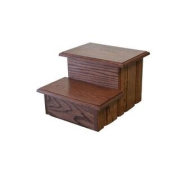 "Rich Cherry Finished Solid Oak Step Stool With Solid Tread 11 ½"" Tall"