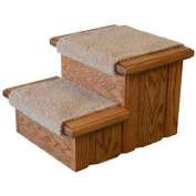 "Early American Finished Solid Oak Step Stool With Carpeted Tread 11 ½"" Tall"