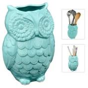 MyGift® Owl Design Ceramic Cooking Utensil Holder / Multipurpose Crock - Aqua Blue