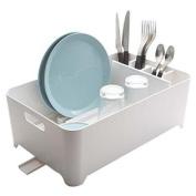 Multi-Functional Self Draining Drying Plastic Dish Rack in White