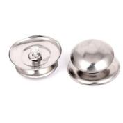 Universal Cookware Silver Tone Metal Pot Glass Lid Cover Knob Handle Grip 2pcs