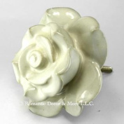 White Rose Ceramic Cabinet Knobs (6) Kitchen Drawer Pulls Handles C10 Hand Painted Vintage Rose Ceramic Knobs w/Chrome Hardware