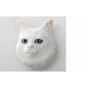 Painted ~ Angora Cat White ~ Refrigerator Magnet ~ CP004AM