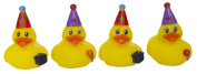 """Set of Four 5.1cm Rubber Duckies """"Party Time"""""""