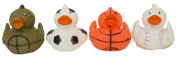 """Set of Four 6.4cm Rubber Duckies """"Sporty"""""""