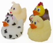 """Set of Four 5.1cm Rubber Duckies """"On the Farm"""""""