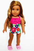 Tropical Hibiscus Swimsuit for American Girl Dolls