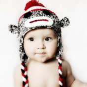 Made in US Handmade baby sock monkey hat - fits  .   Months