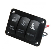 TEQStone Waterproof Marine/Boat Car Switch Panel 3 Gang with 1 Charger With 2 USB Slot Blue LED Light 5pin On/off Rocker Switch.