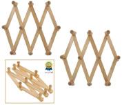 Set Of 2 ALAZCO Accordion Style Wood Expandable Rack Hat, Cap, Belt, Umbrella Coffee Mug Wall wooden Pegs