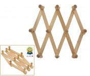 1 ALAZCO Accordion Style Wood Expandable Rack Hat, Cap, Belt, Umbrella Coffee Mug Wall wooden Pegs