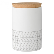 Bloomingville A21100563 Ceramic Carina Jar with Cork Lid, Small, White/Black