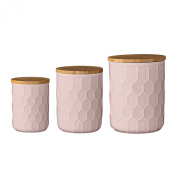 Bloomingville A21700006 Ceramic Jar Set with Bamboo Lids, Nude/Pink