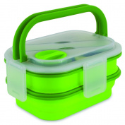Smart Planet Collapsible Double Decker Meal Kit, 1600ml, Green