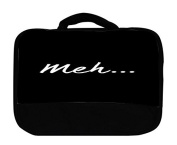 meh Meh... Black Background Canvas Lunch Bag by Moonlight Printing