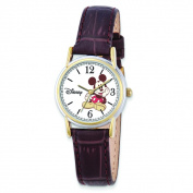 Disney Women's Brown Leather Strap Mickey Mouse Watch