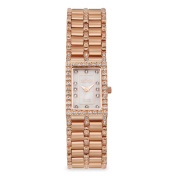 Women's Rectangular Rosetone Quartz Watch with Mother of Pearl Dial and Diamond Markers