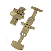 22 mm Goldtone Dual Deployment Butterfly Clasp
