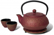 Miya Scarlet Blossom 1010ml Cast Iron Teapot and Teacup Set w/ Strainer and Trivet, Pink