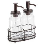 InterDesign Westport Glass Double Pump Caddy, Clear/Bronze