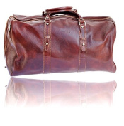 Timmari Italian Leather Medium Travel Duffel Bag