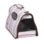 Airline Approved Folding Zippered Sporty Cage Pet Carrier - Stripe Pattern