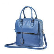 Vertical Daypack Blue Leather Cross-Body Tote Bag with Shoulder Strap