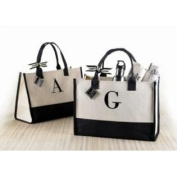Mud Pie D-Initial Canvas Tote 501104