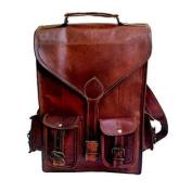 33cm Genuine Leather Vintage Laptop Backpack Shoulder Messenger Bag Briefcase