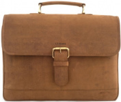 "LEABAGS -""ORLANDO""Unisex Leather Satchel 39cm LapTop Shoulder Bag Vintage Style made of Genuine Leather - Brown"