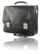 Timmari-Myrtle Italian Leather Messenger Bag [Black]
