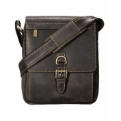 Visconti 16011 Leather Messenger Crossbody Bag with . Front Buckle