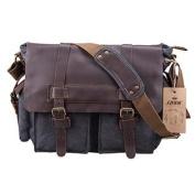 S-ZONE Retro Canvas Leather Messenger travelling shoulder laptop Bag