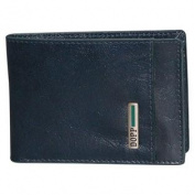 Beta RFID Blocking Leather and Polyester Front Pocket SlimFold Wallet with Credit Card Slots and Utility Pockets