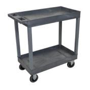 Grey 46cm x 80cm 2 Tub Cart With 13cm Semi Pneumatic Casters
