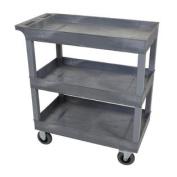 Grey 46cm x 80cm 3 Tub Cart With 13cm Semi Pneumatic Casters