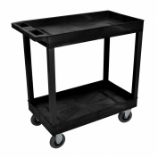 Black 46cm x 80cm 2 Tub Cart With 13cm Semi Pneumatic Casters