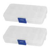 Clear Blue Plastic 10 Sections Jewellery Screws Pills Holder Storage Box 2pcs